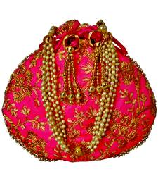 Ethnic Style Designer Partywear Clutch Bag for Women (Pink)