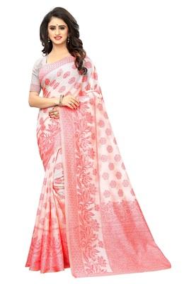 White Woven Jacuard Kanjivaram Cotton Silk Sari with Blouse