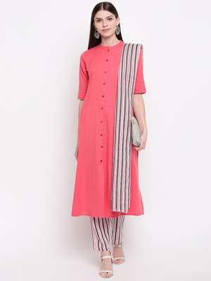 Women's  Peach Cotton Striped Printed A-line Kurta Pant Dupatta Set