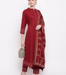 Women's  Maroon Rayon Gota Work & Gold Printed Flared Kurta Pant Dupatta Set