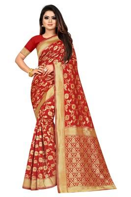 Red Woven Jacuard Kanjivaram Silk Sari with Blouse