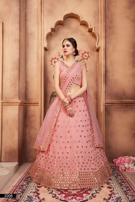 Pink embroidered georgette semi stitched lehenga