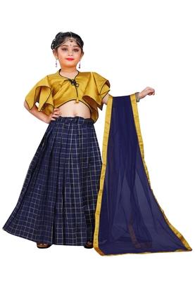 Kids Designer Yellow Blouse And Blue Lehenga Choli For Girls