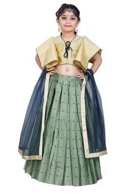 Kids Designer Cream Blouse And Pista Lehenga Choli For Girls