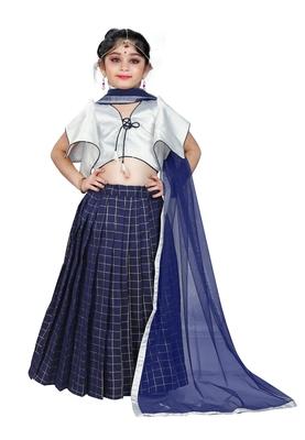 Kids Designer White Blouse And Blue Lehenga Choli For Girls