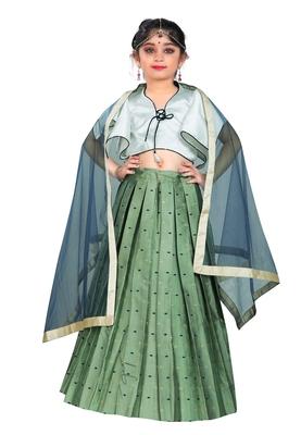 Kids Designer White Blouse And Pista Lehenga Choli For Girls