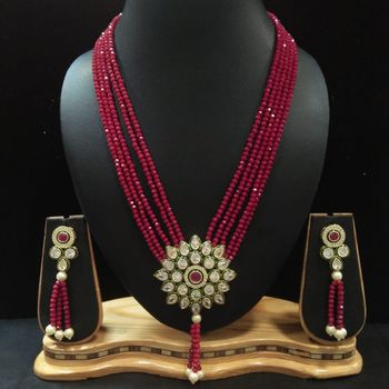 Maroon crystal necklaces