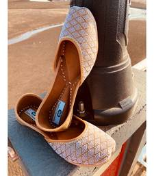 women gold leather flats