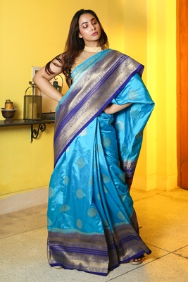 Cyan woven manipuri silk saree with blouse