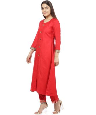 Red Button Down Kurti with Pants