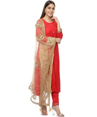 Red Button Down Kurti with Pants and Gold Paisley Dupatta