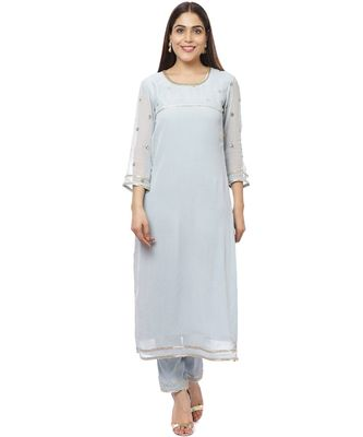 Grey Sequined Sleeves Kurti with Pants