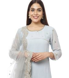 Grey Sequined Sleeves Kurti with Pants and Embroidered Scalloped Dupatta