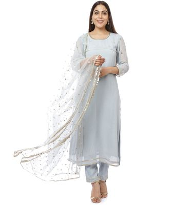 Grey Sequined Sleeves Kurti with Pants and Sequin Dupatta
