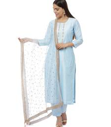 Blush Blue Gota Embroidered Kurti with Pants and Sequin Dupatta