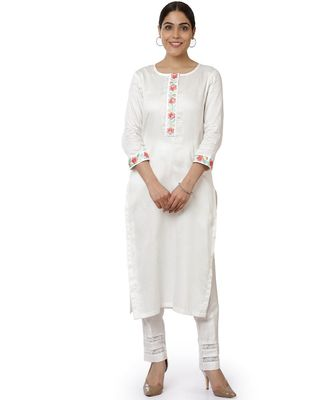 Off-White Blue Parsi Embroidered Kurti with Crochet Pants