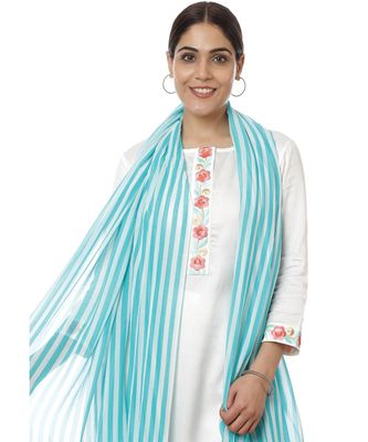 Off-White Blue Parsi Embroidered Kurti with Crochet Pants and Blue White Striped Dupatta
