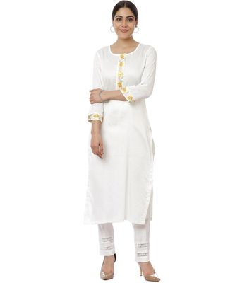 Off-White Lemon Parsi Embroidered Kurti with Crochet Pants