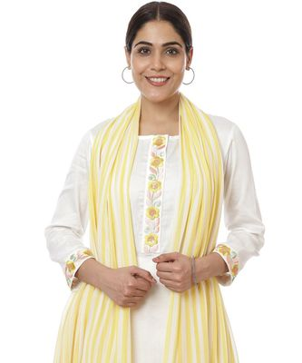 Off-White Lemon Parsi Embroidered Kurti with Crochet Pants and Lemon White Striped Dupatta