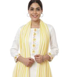 Off-White Lemon Parsi Embroidered Kurti with Crochet Pants and Lemon White Striped Dupatta