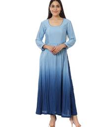 Blue Ombre Gathered Kurti with Pants