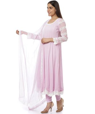 Mauve Georgette Crochet Anarkali with Churidaar And Dupatta
