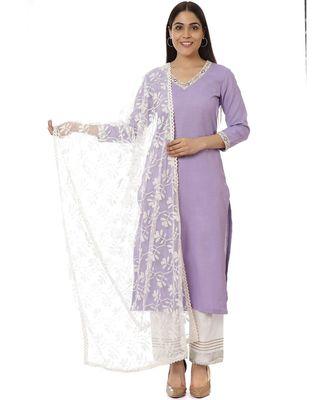 Mauve Matka Silk Kurti with Pants And Off-White Embroidered Dupatta