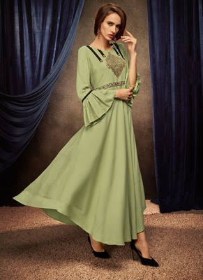 Light-parrot-green embroidered rayon long-kurtis