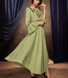 Light-parrot-green embroidered rayon long-kurtis