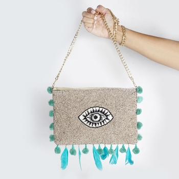 Beaded Feather Bag