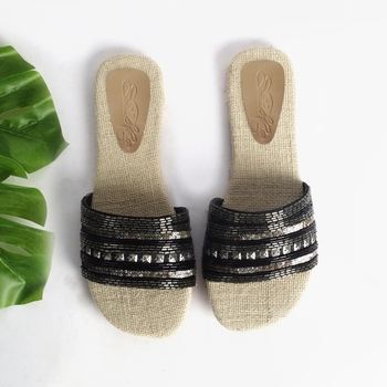 Black Metal and Sequin Sliders with Jute InSole