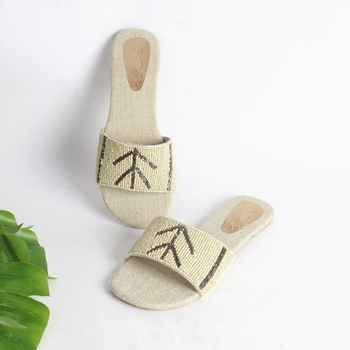 Cream and Gold Bead Sliders with Jute Insole