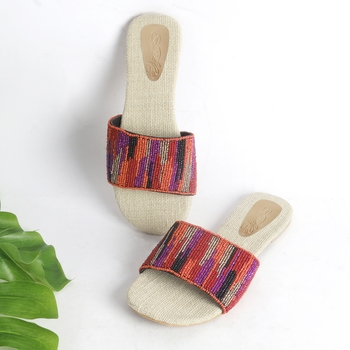 Pink , Orange , Gold and Black Hand Bead Embroidery Slider with Jute Insole