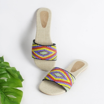 Aztec Multicolour bead slider with Jute Insole