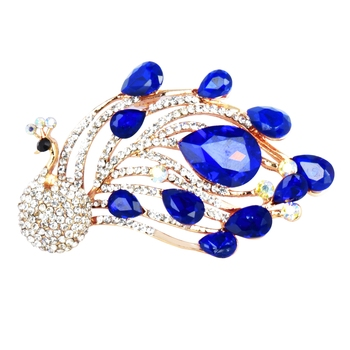 Blue cubic zirconia brooch