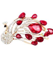 Red cubic zirconia brooch
