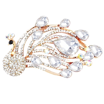 White cubic zirconia brooch
