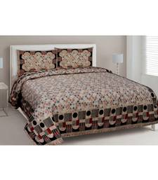 cream printed cotton King bed-sheets