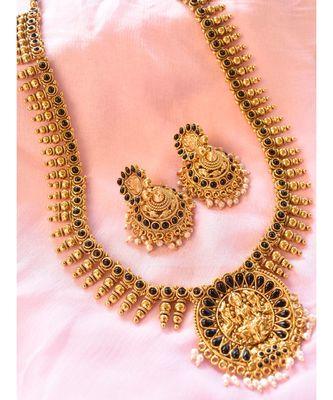 Long Elegant Laxmiji Pendant Necklace Set