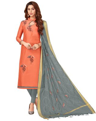 Light-orange embroidered cotton salwar