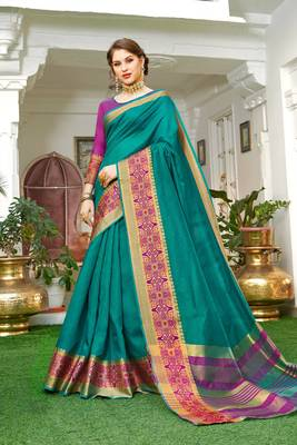 Turquoise embroidered silk saree with blouse