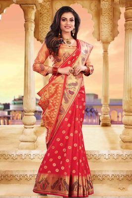 Red embroidered silk saree with blouse