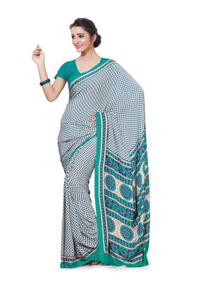 White printed crepe saree with blouse