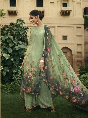 Green digital print crepe salwar