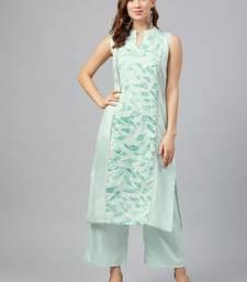 Green printed art silk kurtas-and-kurtis