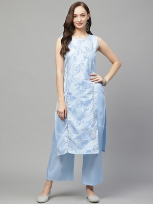 Sky-blue printed art silk kurtas-and-kurtis