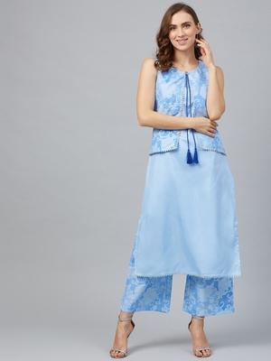 Sky-blue printed art silk kurtas-and-kurtis