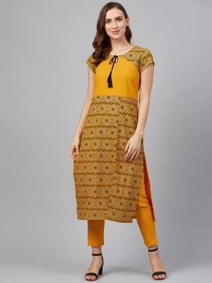 Mustard printed rayon kurtas-and-kurtis