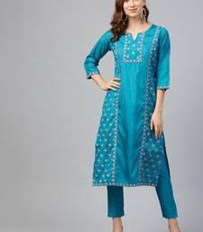Blue printed art silk kurtas-and-kurtis