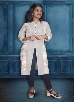 Ladies Pure Cotton Kurti In Cut and Stitch With Front Tabla